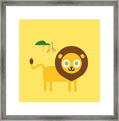 Lion Savanna Framed Print