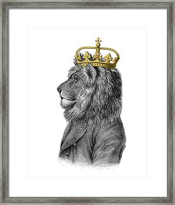 Lion The King Of The Jungle Framed Print by Madame Memento