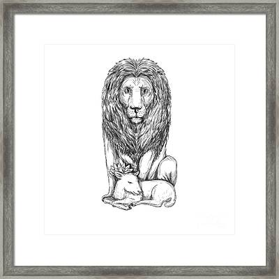 Lion Watching Over Lamb Tattoo Framed Print