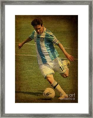 Lionel Andres Messi Argentine Footballer Fc Barcelona  Framed Print by Lee Dos Santos