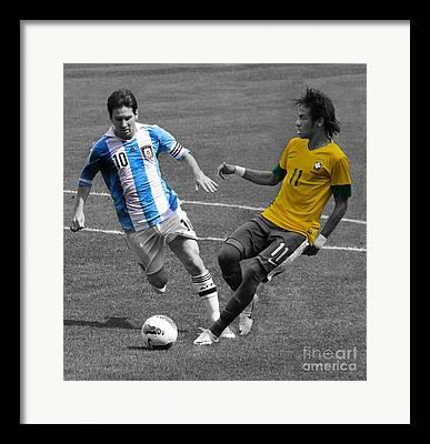 Lionel Messi Kicking Framed Prints