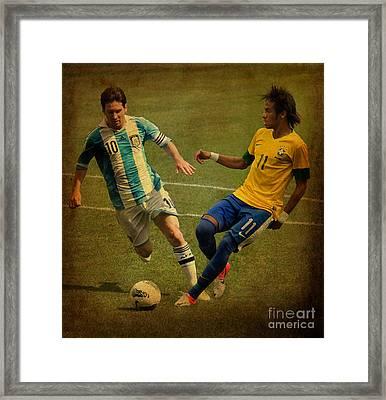 Lionel Messi And Neymar Junior Vintage Photo Framed Print by Lee Dos Santos