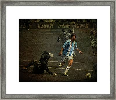 Lionel Messi Breaking Raphael Cabrals Ankles  Framed Print by Lee Dos Santos
