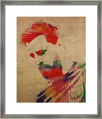 Lionel Messi Footballer Watercolor Portrait Framed Print
