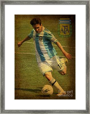 Lionel Messi Kicking Iv Framed Print by Lee Dos Santos