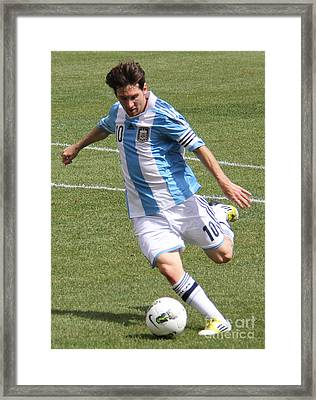Lionel Messi Kicking Framed Print by Lee Dos Santos
