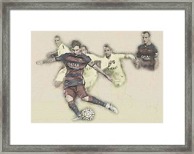 Lionel Messi Scores A Penalty Kick Against Levante  Framed Print