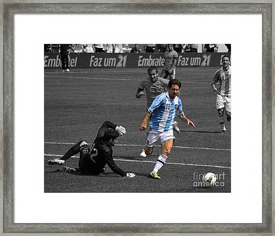 Lionel Messi The King Framed Print by Lee Dos Santos