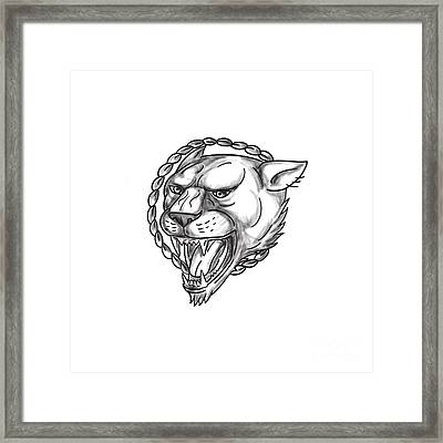 Lioness Growling Rope Circle Tattoo Framed Print by Aloysius Patrimonio
