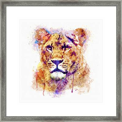 Lioness Head Framed Print by Marian Voicu
