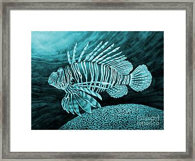 Lionfish On Blue Framed Print by Hailey E Herrera