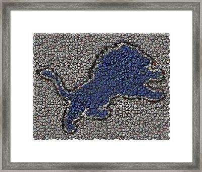 Lions Bottle Cap Mosaic Framed Print by Paul Van Scott