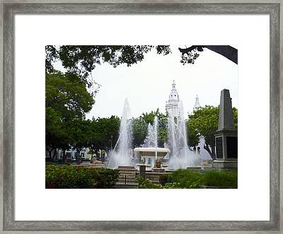 Lions Fountain Wide Framed Print