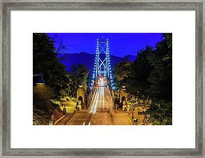 Lions Gate Bridge At Night Framed Print