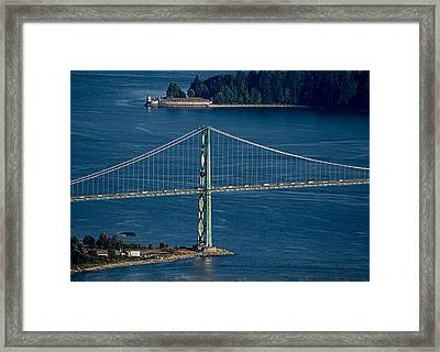 Lions Gate Bridge And Brockton Point Framed Print