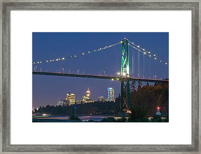 Lions Gate Bridge And Downtown Framed Print by Insight Photography