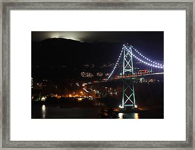 Lions Gate Bridge And Grouse Mountain Framed Print