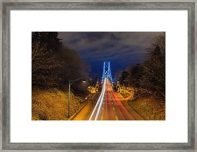 Lions Gate Bridge Light Trails Framed Print by David Gn