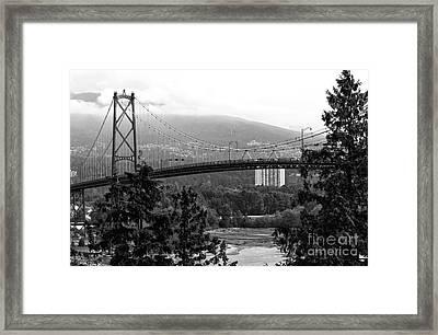 Lions Gate Bridge Mono Framed Print by John Rizzuto