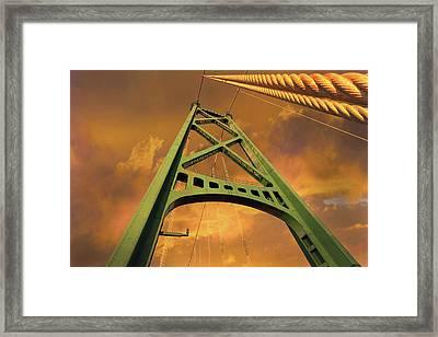 Lions Gate Bridge Tower Framed Print by David Gn