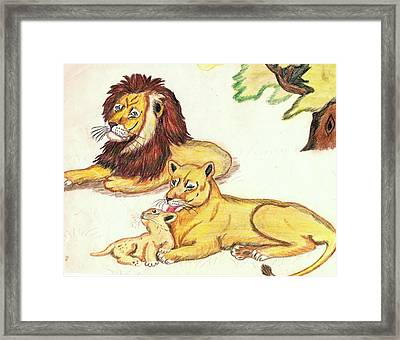 Lions Of The Tree Framed Print