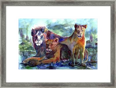 Lion's Play Framed Print