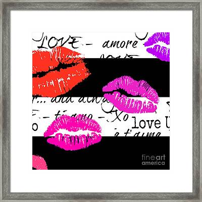Lips And Kisses And Love Art Framed Print by WALL ART and HOME DECOR