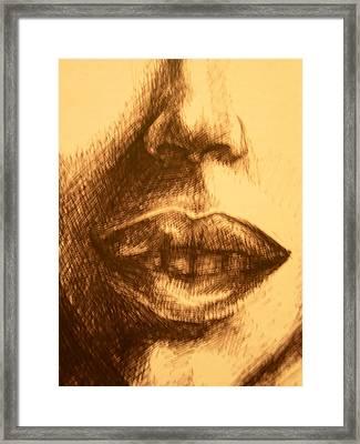 Lips Framed Print by J Oriel