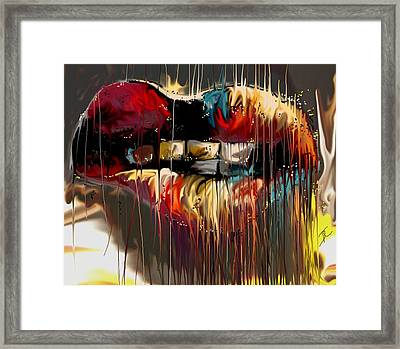 Framed Print featuring the digital art Lips Say It All by Darren Cannell