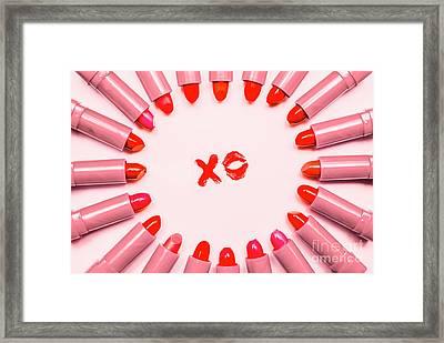 Lipstick Kisses Xo Framed Print by Jorgo Photography - Wall Art Gallery