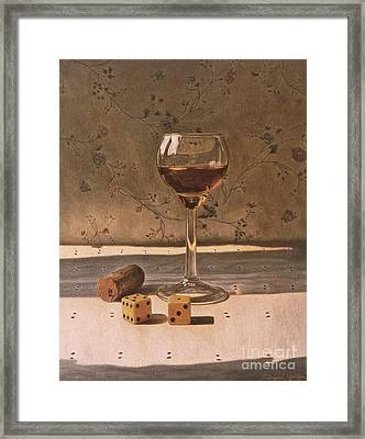 Liqueur Glass And Pair Of Dice Framed Print by Daniel Montoya