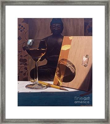 Liqueur Glass And Pencil Framed Print by Daniel Montoya