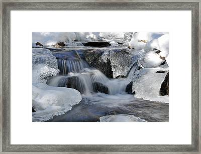 Framed Print featuring the photograph Winter Waterfall In Maine by Glenn Gordon