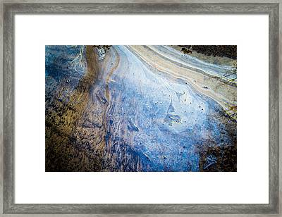 Liquid Oil On Water With Marble Wash Effects Framed Print