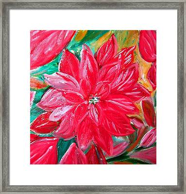 Liquid Red Hot Red Poinsettia Framed Print by Patricia Taylor