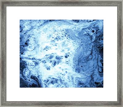 Liquid Smoke Close Up In Blue Framed Print