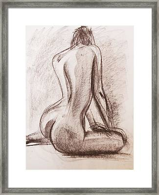 Framed Print featuring the drawing Lisa by Jarko Aka Lui Grande