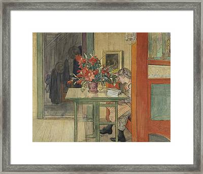 Lisbeth Reading Framed Print by Carl Larsson