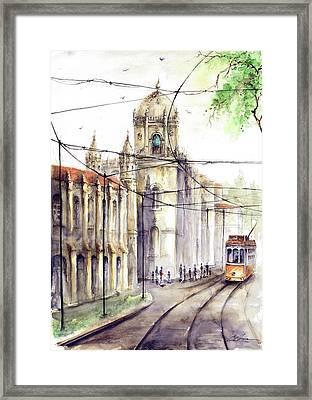 Lisbon Belem Jeronimos Tram Framed Print