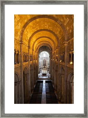 Lisbon Cathedral Interior In Portugal Framed Print by Artur Bogacki