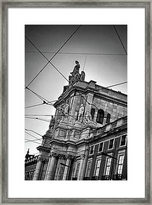 Lisbon Tram Wires Framed Print