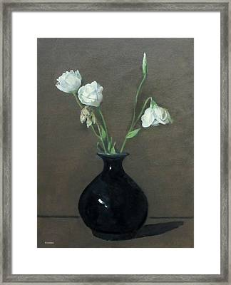 Lisianthus In Black Vase Framed Print