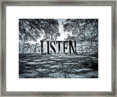 Listen In Blue Framed Print