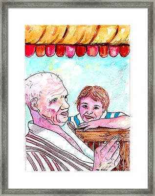 Listening To Grandpas Endless Funny Stories Framed Print