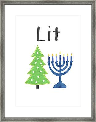 Lit Christmas And Hanukkah- Art By Linda Woods Framed Print