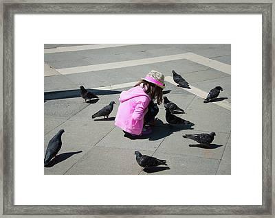 Little Pink Dove Whisperer In Venice Framed Print by Matthias Hauser