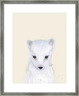Framed Print featuring the painting Little Arctic Fox by Bri B