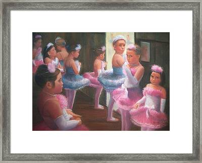 Little Ballerinas Backstage At The Recital Framed Print by Diane Caudle
