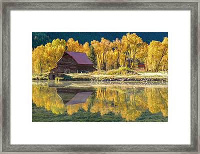 Little Barn By The Lake Framed Print by Teri Virbickis