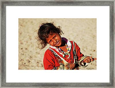 Little Bedouin Girl Framed Print by Chaza Abou El Khair